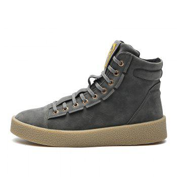 Men Casual Outdoor New Winter Autumn Fashion Suede Surface Ankle Leather Boots - GRAY GRAY