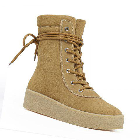 Casual High Top Outdoor Increase Height Women Fashion Sport Sneakers Comfortable - KHAKI 38