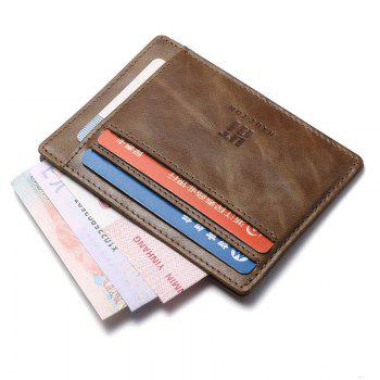 Hautton Genuine Leather Wallet Slim Thin Minimalist Pocket Wallets Card Holder - KHAKI 11.5 X 1 X 9.6 CM