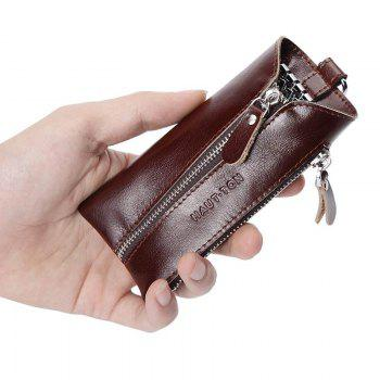 Hautton Clean Vintage Leather Key chain Holder Wallet Dark Brown Car Case - DEEP BROWN 6.5 X 1.5 X 13CM