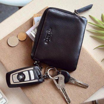 Hautton Wallet for Men Travel and Work Genuine Leather Accordion Style Money Clip Organizer with Key Chain - BLACK