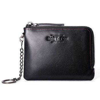 Hautton Wallet for Men Travel and Work Genuine Leather Accordion Style Money Clip Organizer with Key Chain - BLACK BLACK