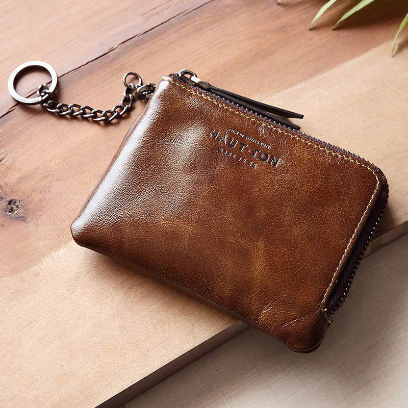 Hautton Wallet for Men Travel and Work Genuine Leather Accordion Style Money Clip Organizer with Key Chain - BROWN