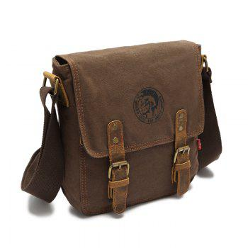 AUGUR 2017 Fashion Men Shoulder Bag Vintage Canvas Bags Travel Satchel Bag Male High Quality Small Crossbody Bags - COFFEE