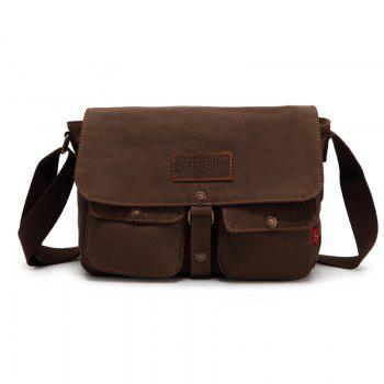 AUGUR 2017 Fashion Crossbody Casual Vintage Canvas For Men Travel Male Messenger Bags - COFFEE