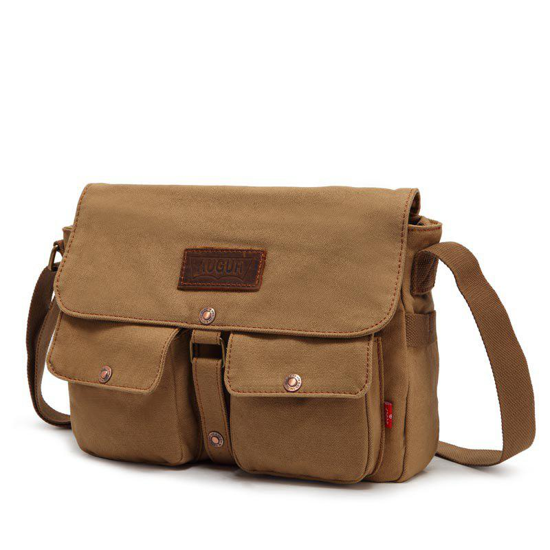 AUGUR 2017 Fashion Crossbody Casual Vintage Canvas For Men Travel Male Messenger Bags - KHAKI