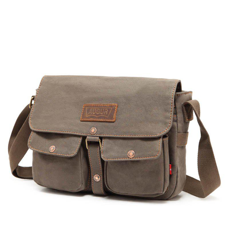 AUGUR 2017 Fashion Crossbody Casual Vintage Canvas For Men Travel Male Messenger Bags - ARMYGREEN