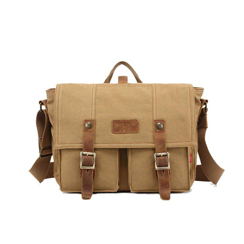AUGUR Fashion Men Shoulder Bags Male Casual Canva Larger Capacity Travel For Men Business Messenger Bag - KHAKI