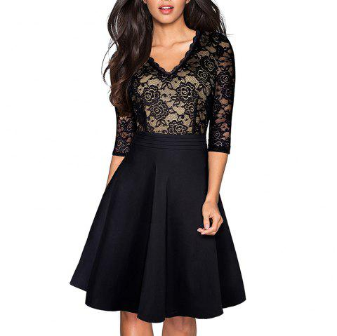 Elegant LaceVintage Black Flower  Ruffle vestidos See Through Sleeve A-Line Pinup Business Women Flare Dress - BLACK M