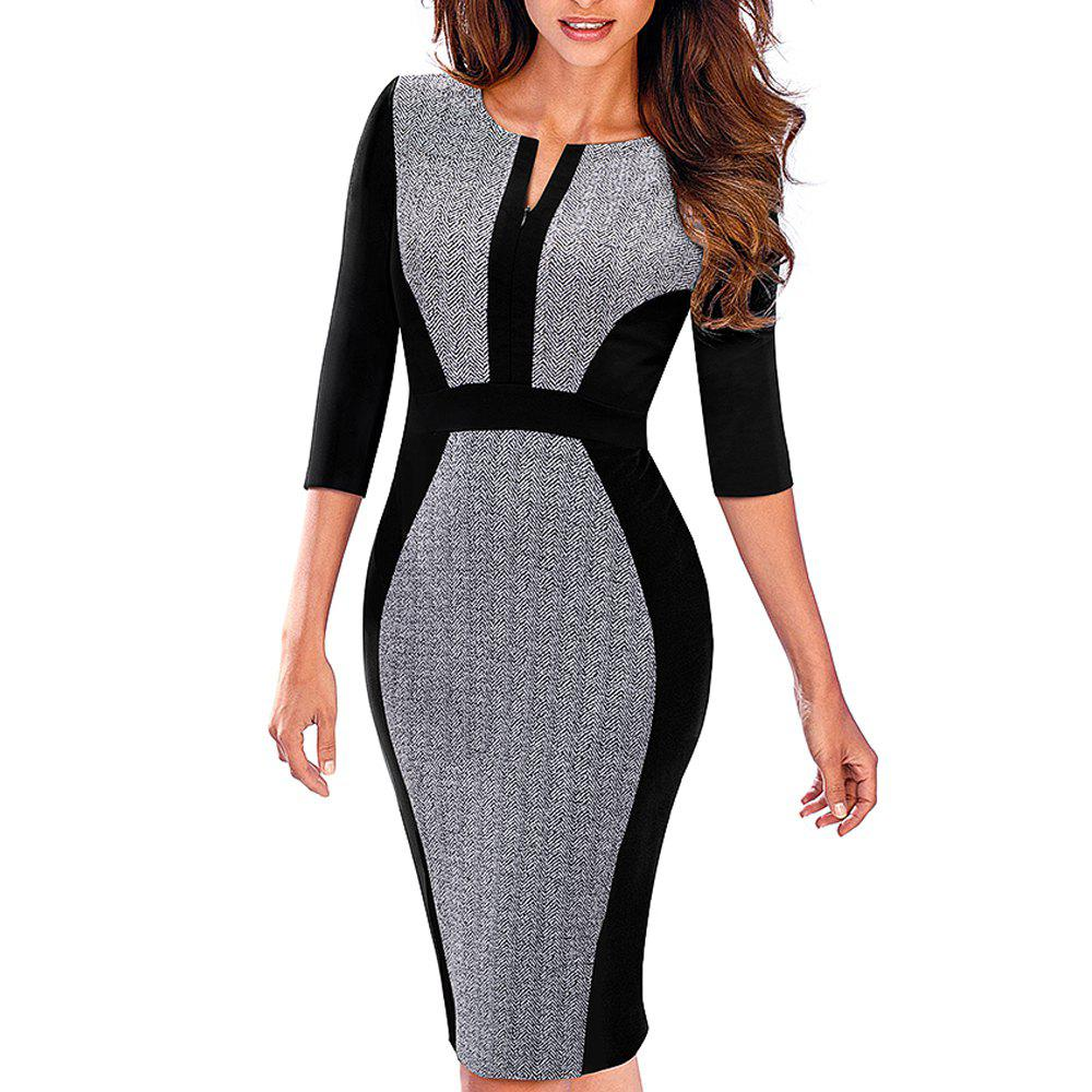 Women Retro Contrast Patchwork Wear to Work Business Vestidos Office Bodycon Zipper Sheath Female Dress - GRAY S