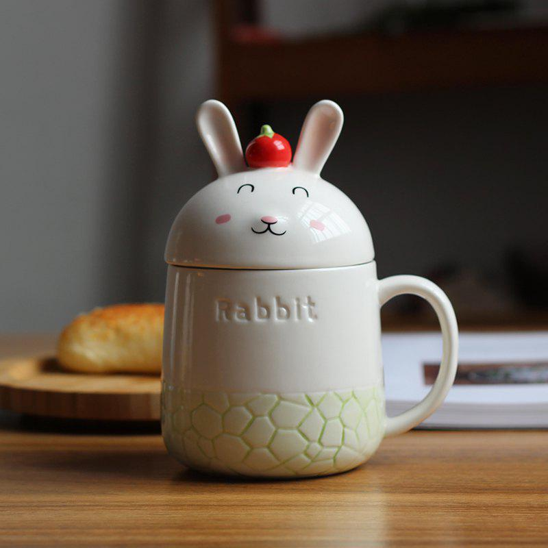 350ML Creative Cute Rabbit Ceramic Cup - GREEN