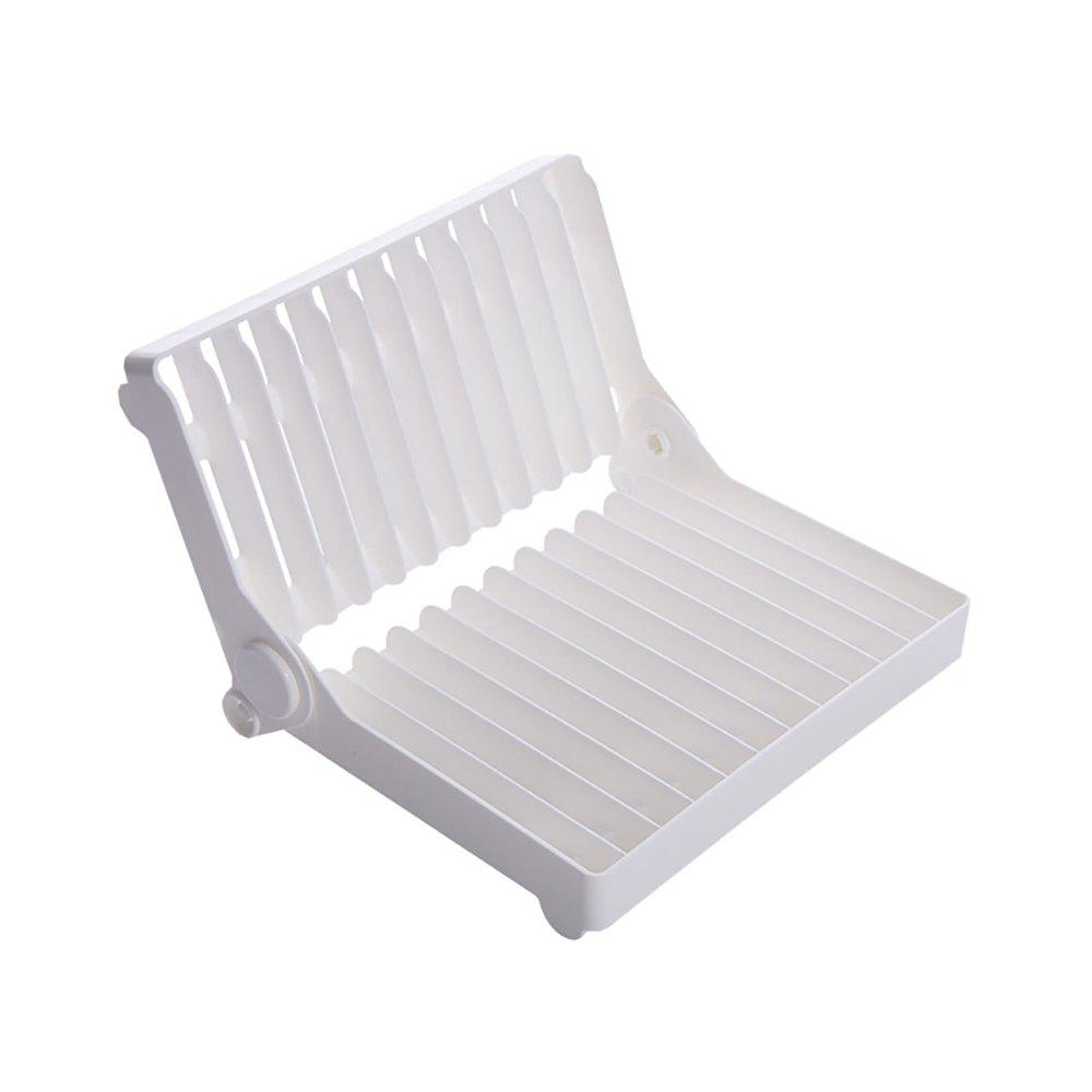 Atongm Folding Dish Plates Rack Foldable Home Vegetable Fruit Drying Washing Holder Organizer - WHITE