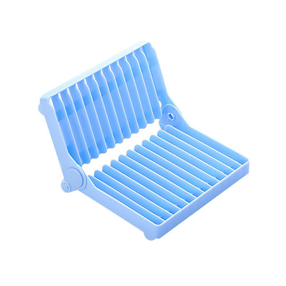 Atongm Folding Dish Plates Rack Foldable Home Vegetable Fruit Drying Washing Holder Organizer - BLUE