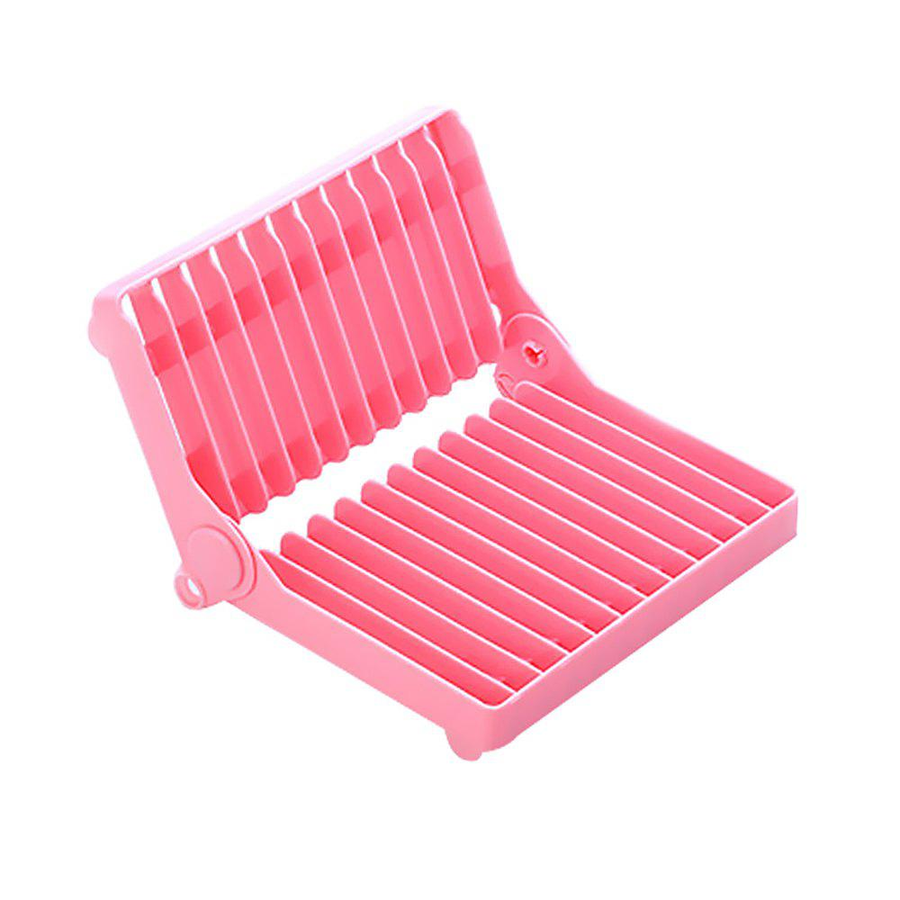Atongm Folding Dish Plates Rack Foldable Home Vegetable Fruit Drying Washing Holder Organizer - PINK