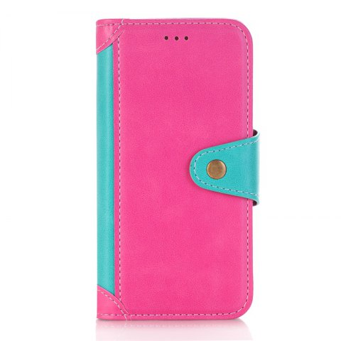 Stitching Colours Card Lanyard Pu Leather Cover for Samsung Galaxy J5 2017 - ROSE RED / BLUE