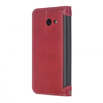 Stitching Colours Card Lanyard Pu Leather Cover for Samsung Galaxy J5 2017 - RED / BLACK