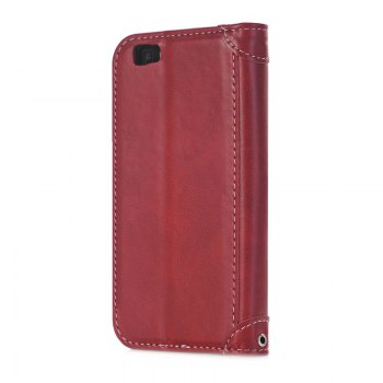 Stitching Colours Card Lanyard Pu Leather Cover for HUAWEI P8 Lite - RED