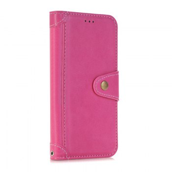 Stitching Colours Card Lanyard Pu Leather Cover for HUAWEI P8 Lite - ROSE RED