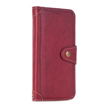 Stitching Colours Card Lanyard Pu Leather Cover for Samsung Galaxy S6 - RED