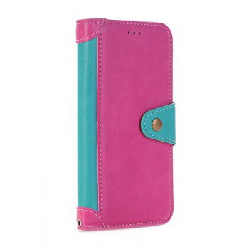 Stitching Colours Card Lanyard Pu Leather Cover for Samsung Galaxy S6 - ROSE RED / BLUE