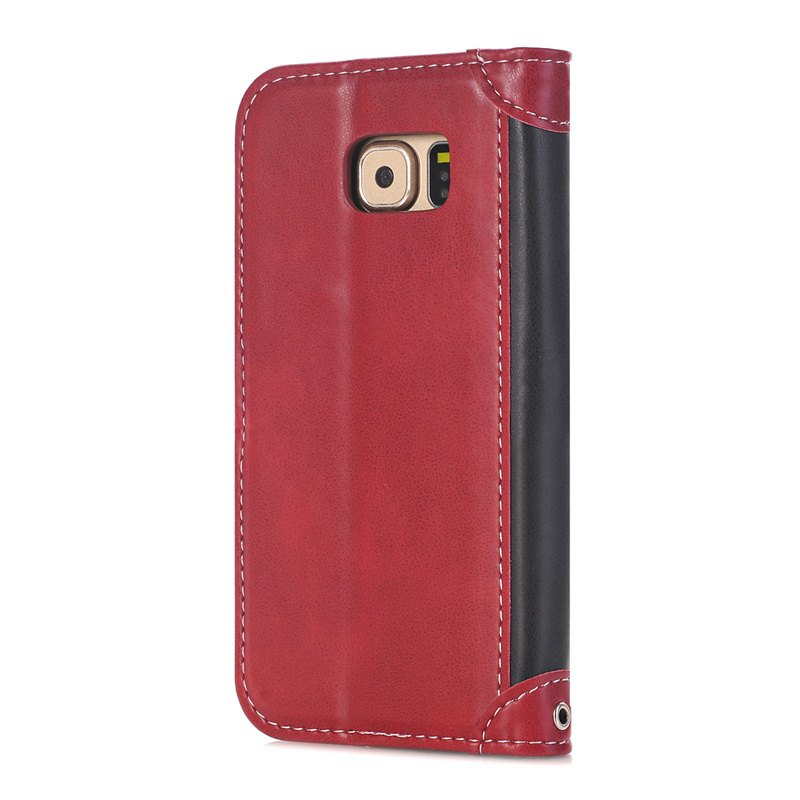 Stitching Colours Card Lanyard Pu Leather Cover for Samsung Galaxy S6 - RED / BLACK