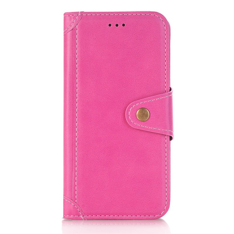 Stitching Colours Card Lanyard Pu Leather Cover for Samsung Galaxy S6 - ROSE RED