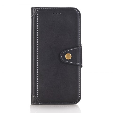 Stitching Colours Card Lanyard Pu Leather Cover for Samsung Galaxy S7 - BLACK