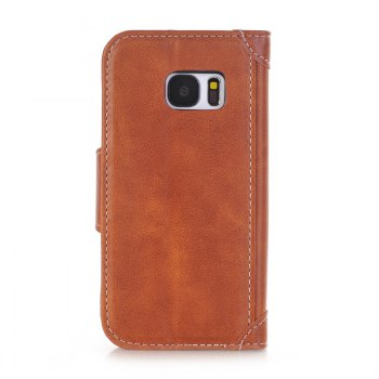 Stitching Colours Card Lanyard Pu Leather Cover for Samsung Galaxy S7 - BROWN