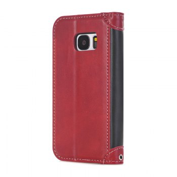 Stitching Colours Card Lanyard Pu Leather Cover for Samsung Galaxy S7 - RED / BLACK