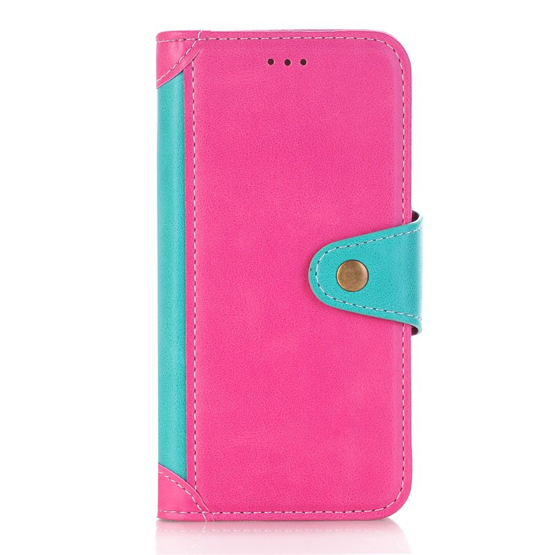 Stitching Colours Card Lanyard Pu Leather Cover for Samsung Galaxy S7 - ROSE RED / BLUE
