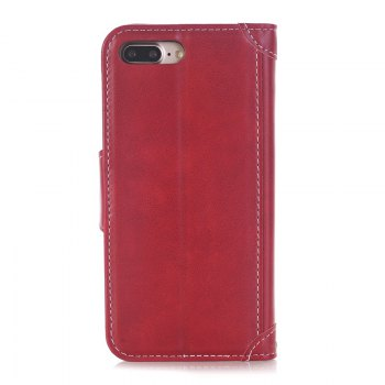 Stitching Colours Card Lanyard Pu Leather Cover for iPhone 7 - RED