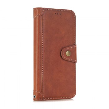 Stitching Colours Card Lanyard Pu Leather Cover for iPhone 7 - BROWN