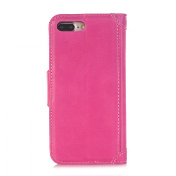 Stitching Colours Card Lanyard Pu Leather Cover for iPhone 7 - ROSE RED