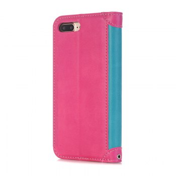 Stitching Colours Card Lanyard Pu Leather Cover for iPhone 7 - ROSE RED / BLUE