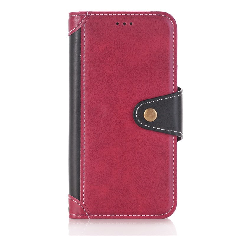 Stitching Colours Card Lanyard Pu Leather Cover for iPhone 7 - RED / BLACK