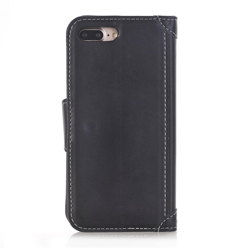 Stitching Colours Card Lanyard Pu Leather Cover for iPhone 7 Plus - BLACK