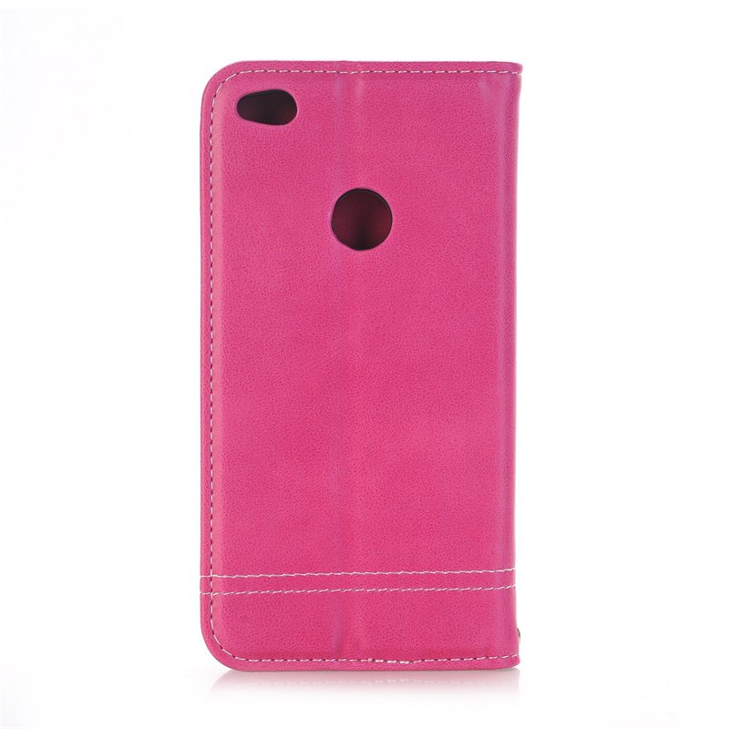 Truck Suction Line Card Lanyard Pu Leather Cover for HUAWEI P8 Lite 2017 - ROSE RED