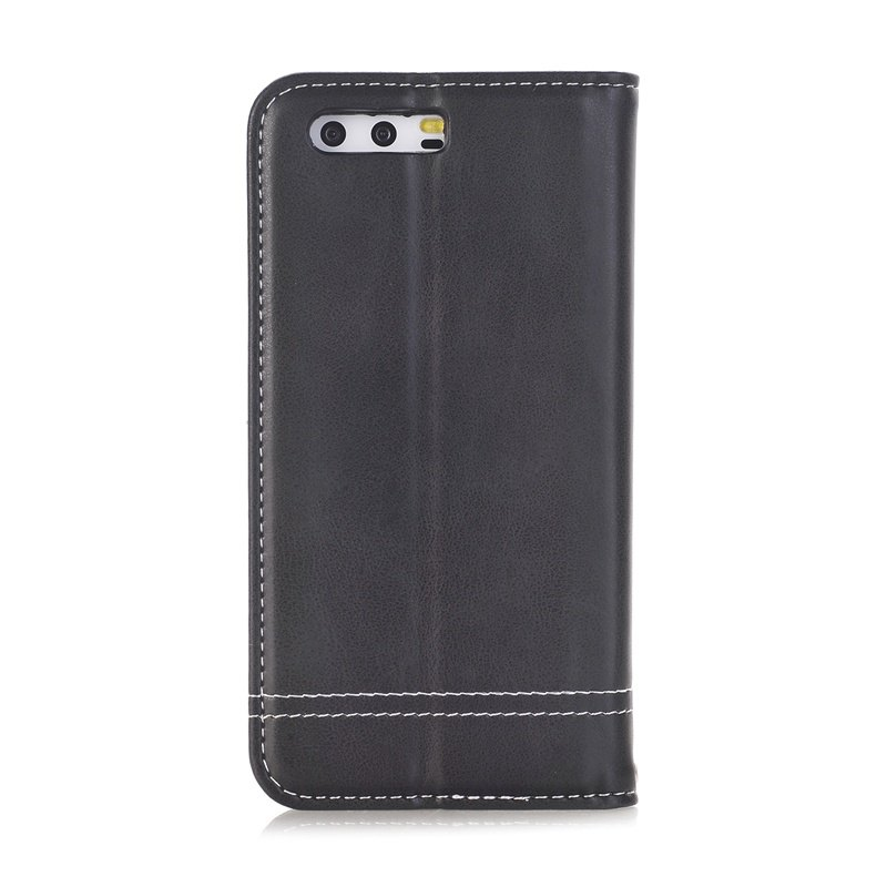 Truck Suction Line Card Lanyard Pu Leather Cover for HUAWEI P10 - BLACK