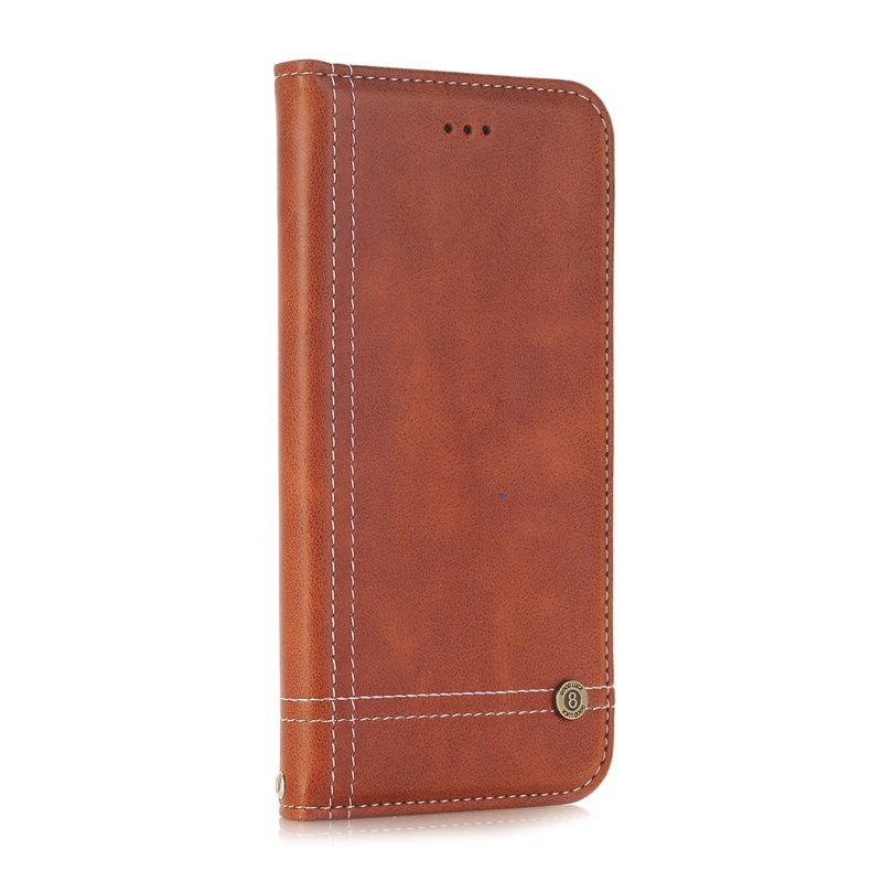 Truck Suction Line Card Lanyard Pu Leather Cover for HUAWEI P10 - BROWN