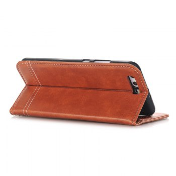 Truck Suction Line Card Lanyard Pu Leather Cover for HUAWEI P10 Plus - BROWN