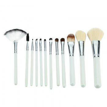 TODO 12pcs Peony Pattern Case Makeup Brushes Set with Cosmetic Bag - WHITE