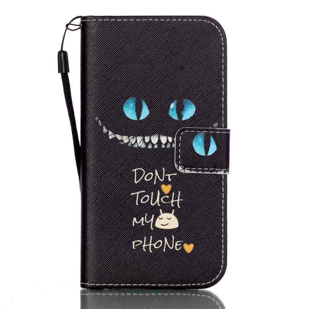 New Painted PU Phone Case for Samsung Galaxy S7 - BLACK / BLUE