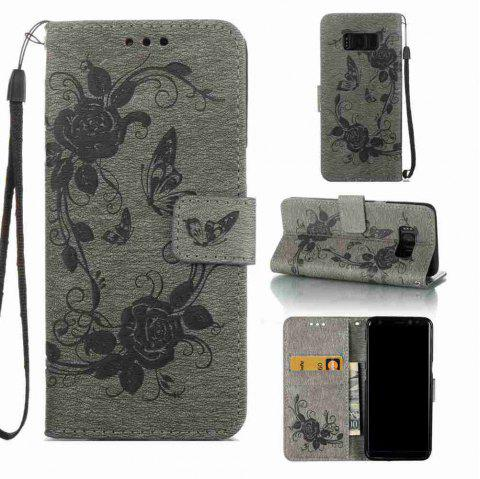 Embossed - Butterfly Flower PU Phone Case for Samsung Galaxy S8 - GRAY