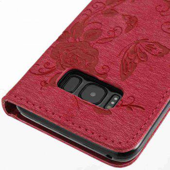 Embossed - Butterfly Flower PU Phone Case for Samsung Galaxy S8 - RED