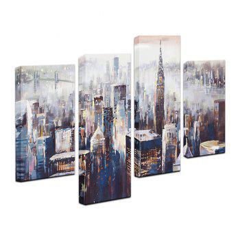 YHHP Canvas Print Impression City Wall Decor for Home Decoration 4PCS - GRAY 30 X 50CM 2PCS + 30 X 75CM 2PCS