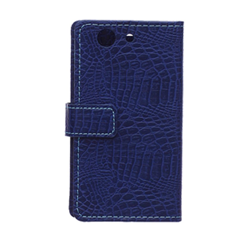 KaZiNe Crocodile Texture Wallet Stand Leather Cover for Sony Z3 Mini / Z4 Mini - BLUE