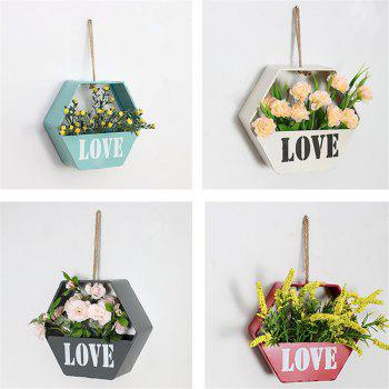 Modern Brief Style Wall Shelf Hexagon Shaped Flower Storage Rack - BLUE