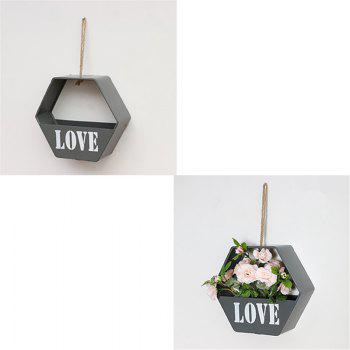 Modern Brief Style Wall Shelf Hexagon Shaped Flower Storage Rack - GRAY GRAY