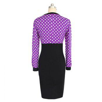 Women V-Neck Retro Point Stitching Dress - PURPLE L