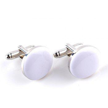 Men's Cufflinks Roof Solid Color Round Brief Cuff Buttons Accessory - WHITE WHITE